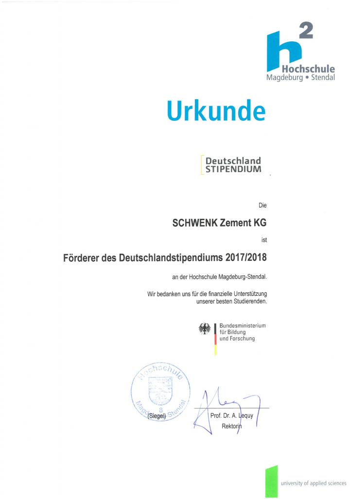 SCHWENK fördert Deutschlandstipendium