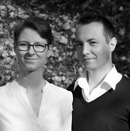 Abbildung 2: Verena Pösold und Christian Fratscher (ehem. Bachelor-studenten aus dem Entwicklungsteam) Foto: Kevin Sams