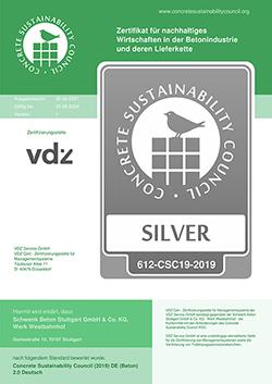 SCHWENK Beton Stuttgart erhält CSC-Zertifizierung in Silber